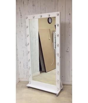 Ростовое гримерное зеркало с подсветкой на колесах 200х100