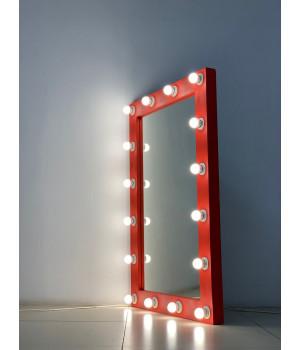Гримерное зеркало 120x80 красного цвета с подсветкой 16 ламп по контуру