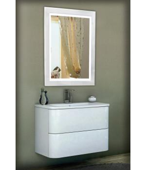 Зеркало в ванную комнату с подсветкой светодиодной лентой Кора